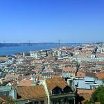 Ponte 25 de Abril vom Castelo de Sao Jorge in Lissabon aus