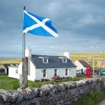 Schottische Flagge an der Nordküste in Durness