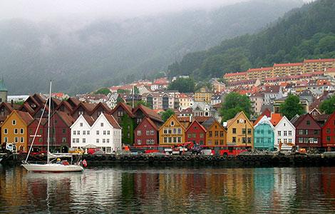 Bergen Hanseviertel Brygge am Hafen