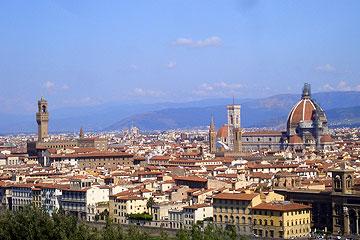 Panorama Florenz mit Blick auf Palazzo Vecchio, Campanile und Dom