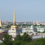 Petersburg Panorama mit Peter-Paul-Festung, Admiralität und Winterpalast