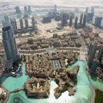 """Aussicht vom """"Turm"""" auf Dubai Lake und weitere Wolkenkratzerchen"""